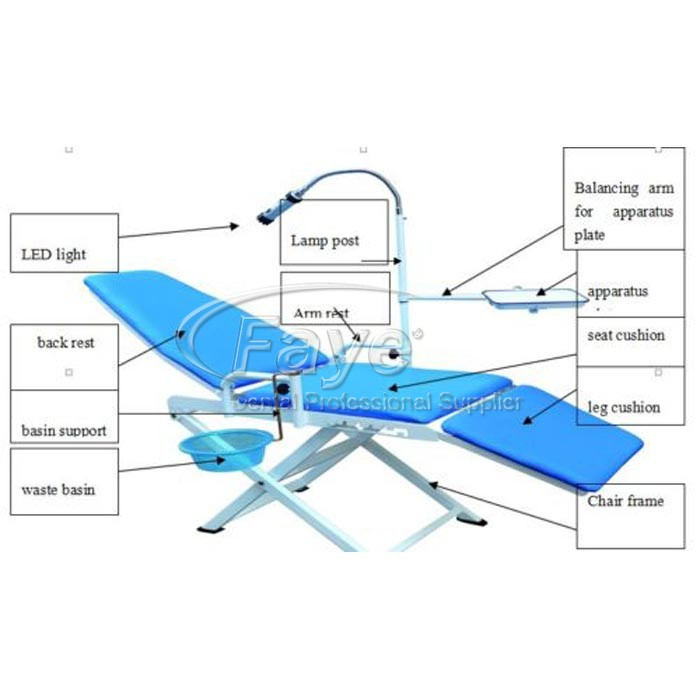 Full Folding Dental Portable Chair With Cold Light